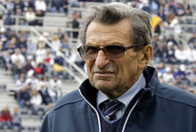 FILE - In this Oct. 15, 2011, file photo, Penn State head coach Joe Paterno watches warm ups before an NCAA college football game against Purdue in State College, Pa. In his first public comments since being fired two months ago, former Penn State coach Paterno told the Washington Post he