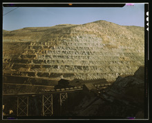 A view of the Utah Copper Company's open pit mine in Bingham Canyon from 1942.  Courtesy Library of Congress