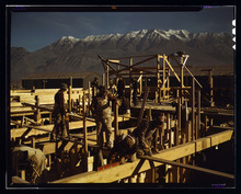 Mount Timpanogos is seen in the distance during the construction of Geneva Steel in 1942. The plant was built to produce steel for the war effort.  Courtesy Library of Congress