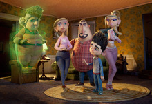 This film image released by Focus Features shows characters, from left, Grandma Babcock, voiced by Elaine Stritch, Sandra Babcock, voiced by Leslie Mann, Perry Babcock, voiced by Jeff Garlin, Norman, voiced by Kodi Smit-McPhee, and Courtney, voiced by Anna Kendrick, in the 3D stop-motion film,
