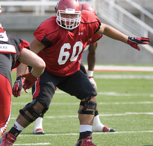 Paul Fraughton | The Salt Lake Tribune Offensive lineman Siaosi Alono practices at the Ute scrimmage on Tuesday.