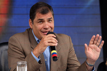 In this photo released by Ecuador's Presidential Press Office, Ecuador's President Rafael Correa talks during his weekly broadcast