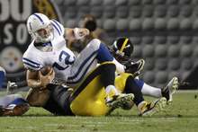 Mark Duncan | The Associated Press Indianapolis Colts quarterback Andrew Luck (12) is sacked by the s defense in the first quarter of the NFL preseason football game in Pittsburgh, Sunday, Aug. 19, 2012. (AP Photo/Mark Duncan)