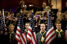 Kim Raff |  The Salt Lake Tribune The Boys Scouts of America goes on stage during