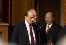 Kim Raff |  The Salt Lake Tribune LDS Church President Thomas S. Monson enters the LDS Conference Center to take his seat during