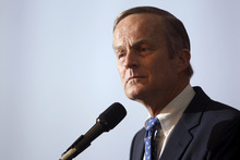 FILE - This May 17, 2011 file photo shows U.S. Rep. Todd Akin, R-Mo., announcing his candidacy for U.S. Senate, in Creve Coeur, Mo. Akin said in an interview Sunday, Aug. 19, 2012 with St. Louis television station KTVI that pregnancy from rape is