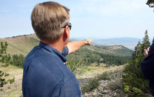 Steve Griffin | The Salt Lake Tribune   Mike Goar, managing director of Canyons Resort, points to the area in Canyons Resort where a proposed gondola would connect to Solitude Mountain Ski Resort in Big Cottonwood Canyon Monday August 13, 2012.