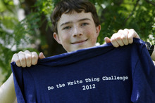 Francisco Kjolseth  |  The Salt Lake Tribune Joel Devey is one of 12 finalists in a nationwide essay contest against bullying. The middle school student from Riverton earned the honor for his piece entitled