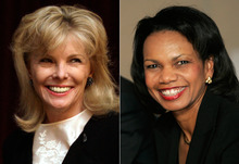 At left, in a March 24, 2011 file photo, Darla Moore speaks to students at the University of South Carolina in Columbia, S.C. At right, in a Jan. 24, 2008 file photo, U.S. Secretary of State Condoleeza Rice smiles during a meeting with trade union leaders in Medellin, Colombia. For the first time in it's 80-year history, Augusta National Golf Club has female members. The home of the Masters, under increasing criticism the last decade because of its all-male membership, invited former Secretary of State Rice and South Carolina financier Moore to become the first women in green jackets when the club opens for a new season in October. (AP Photo/File)