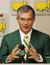 This April 4, 2007 file photo shows Billy Payne, chairman of the Augusta National Golf Club and the Masters golf tournament, addressing the media at the Augusta National Golf Club in Augusta, Ga. For the first time in it's 80-year history, Augusta National Golf Club has female members. The home of the Masters, under increasing criticism the last decade because of its all-male membership, invited former Secretary of State Condoleeza Rice and South Carolina financier Darla Moore to become the first women in green jackets when the club opens for a new season in October. This is a joyous occasion, Payne said Monday, Aug. 20, 2012. (AP Photo/Chris O'Meara, FIle)