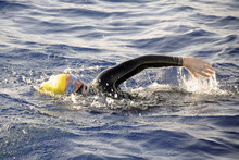 In this photo provided by Diana Nyad via the Florida Keys News Bureau, endurance swimmer Diana Nyad swims in the Florida Straits between Cuba and the Florida Keys Sunday, Aug. 19, 2012. Nyad is endeavoring to become the first swimmer to transit the Florida Straits from Cuba to the Keys without a shark cage. (AP Photo/Diana Nyad via the Florida Keys News Bureau, Christi Barli)