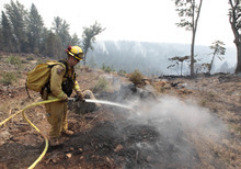Firefighter Josh Gillick hoses down a hot spot of the Ponderosa Fire near Viola, Calif., Monday, Aug. 20, 2012. More than 1,400 fire fighters are battling the fire that has destroyed seven homes, burned 23 square miles. The fire that started Saturday is just 5 percent contained. (AP Photo/Rich Pedroncelli)