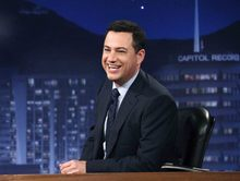 This July 25, 2012 photo released by ABC shows Jimmy Kimmel hosting his late night show