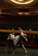 Ballet West's Adam Sklute works with dancers Katherine Lawrence and Michael Bearden during a 2008 rehearsal for the company's production of