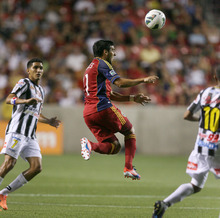 Steve Griffin | The Salt Lake Tribune   Real Salt Lake's Javier Morales heads the ball out of trouble during a Champions League game against Tauro FC at Rio Tinto Stadium in Sandy on Tuesday, Aug. 21, 2012.
