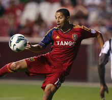 Steve Griffin | The Salt Lake Tribune   Real Salt Lake's Alvaro Saborio fires a shot on goal during a Champions League game against Tauro FC at Rio Tinto Stadium in Sandy on Tuesday, Aug. 21, 2012.