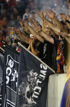 Steve Griffin | The Salt Lake Tribune   Real Salt Lake fans scream their support during a Champions League game against Tauro FC at Rio Tinto Stadium in Sandy on Tuesday, Aug. 21, 2012.