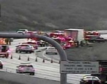I-80 accident scene on Wednesday where a van driver was critically injured and a UHP trooper seriously hurt while directing traffic after the accident. (ODOT Traffic Cam)