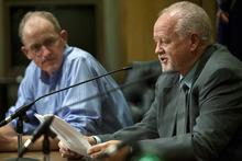 Chris Detrick  |  The Salt Lake Tribune Bill Barron listens as Shaun McCausland speaks in a Senate debate at Bountiful City Council Chambers Tuesday August 21, 2012.