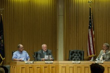 Chris Detrick  |  The Salt Lake Tribune Bill Barron, Shaun McCausland and Scott Howell participate in a Senate debate at Bountiful City Council Chambers Tuesday August 21, 2012.
