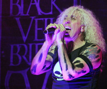 FILE - This April 11, 2012 file photo shows Twisted Sister frontman Dee Snider performing live at the 4th annual Revolver Golden Gods Award Show at Club Nokia in Los Angeles. Snider has asked Republican vice presidential running mate Paul Ryan's camp not to play his hit song,