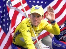 This July 23, 2000 file photo shows Tour de France winner Lance Armstrong riding down the Champs Elysees with an American flag after the 21st and final stage of the cycling race in Paris. The superstar cyclist, whose stirring victories after his comeback from cancer helped him transcend sports, chose not to pursue arbitration in the drug case brought against him by the U.S. Anti-Doping Agency. That was his last option in his bitter fight with USADA and his decision set the stage for the titles to be stripped and his name to be all but wiped from the record books of the sport he once ruled.   (AP Photo/Laurent Rebours, File)