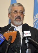 Iran's Ambassador to the International Atomic Energy Agency, IAEA, Ali Asghar Soltanieh speaks to journalists after the talks with the International Atomic Energy Agency, IAEA, at the permanent mission of Iran in Vienna, Austria, Friday, Aug. 24, 2012.  (AP Photo/Hans Punz)