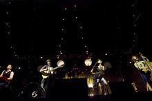 Kim Raff | The Salt Lake Tribune Mumford & Sons -- Ben Lovett, left, Marcus Mumford, Country Winston Marshall and Ted Dwane -- perform at Saltair in Magna on Aug. 22, 2012.