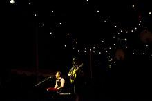 Kim Raff | The Salt Lake Tribune Ben Lovett, left, and Marcus Mumford of Mumford & Sons perform at Saltair in Magna on Aug. 22, 2012.