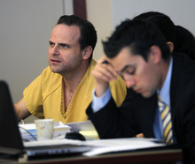 Al Hartmann  |  The Salt Lake Tribune   GOP activist Greg Peterson, who is accused of multiple date rapes, listens to a witness testify during his preliminary hearing in 3rd District Court in Salt Lake City on Tuesday, Aug. 14. 2012.
