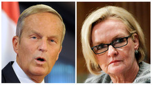 This photo combo shows U.S. Rep. Todd Akin, R-Mo., left, and Sen. Claire McCaskill, D-Mo. For most of a century, Missouri has been the nation's bellwether. Every four years, a majority of voters in the state in the center of the country _ a near perfect mirror of its demographics, geography, economics and politics _ predictably cast their ballots for the candidates the nation as a whole chooses to win the White House. Should Akin, who offended millions of Americans with insensitive remarks about rape and pregnancy, rebound this November to defeat McCaskill, Missouri will probably need to turn in its bell for good. (AP Photo/Sid Hastings, Manuel Balce Ceneta)