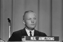 FILE - In this Sept. 17, 1962 file photo, Neil Armstrong, one of the nine astronauts, is shown as he was introduced to the press, along with the other astronauts in Houston. The family of Neil Armstrong, the first man to walk on the moon, says he has died at age 82. A statement from the family says he died following complications resulting from cardiovascular procedures. It doesn't say where he died. Armstrong commanded the Apollo 11 spacecraft that landed on the moon July 20, 1969. He radioed back to Earth the historic news of