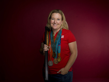 Shooting athlete Kim Rhode poses for a portrait at the 2012 Team USA Media Summit on Monday, May 14, 2012 in Dallas. She will be among the Olympians appearing at the 2012 GOP Convention. (AP Photo/Victoria Will)