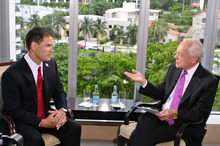 In this Saturday, Aug. 25, 2012 photo provided by CBS News Florida, Sen. Marco Rubio, R-Fla., left, listens to a question from host Bob Schieffer during a pre-taped interview in Miami, for the special Sunday GOP Convention edition of