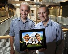 Al Hartmann  |  The Salt Lake Tribune Chair Entertainment's Geremy and Donald Mustard show a screen shot of