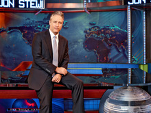 This undated image released by Comedy Central shows Jon Stewart on the set of