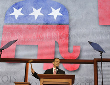 Chairman of the Republican National Committee Reince Priebus gavels the Republican National Convention open in Tampa, Fla., on Monday, Aug. 27, 2012. (AP Photo/Charles Dharapak)