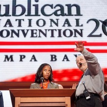 Trent Nelson  |  The Salt Lake Tribune Utah Congressional candidate Mia Love gets a walk-through for her speech (scheduled for Tuesday) at the Republican National Convention in Tampa, Florida, Monday, August 27, 2012.