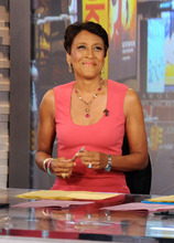 This Aug. 20, 2012 photo released by ABC shows co-host Robin Roberts during a broadcast of