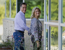 Republican presidential candidate, former Massachusetts Gov. Mitt Romney and his wife Ann, arrive at Brewster Academy, for convention preparations in Wolfeboro, N.H., Aug. 27, 2012. The Romneys envision a White House enlivened by