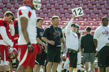 Chris Detrick  |  The Salt Lake Tribune Utah Utes head coach Kyle Whittingham watches during a practice at Rice-Eccles Stadium Tuesday April 17, 2012.