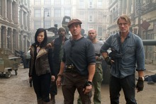 This film image released by Lionsgate shows, from left, Yu Nan, Terry Crews, Sylvester Stallone, Randy Couture and Dolph Lundgren in a scene from