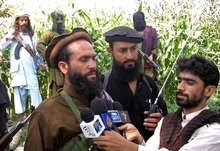 In this Monday Sept. 5, 2011 photo Mullah Dadullah gives an interview in Kunar province east of Kabul, Afghanistan. A NATO airstrike in eastern Afghanistan Friday, Aug. 24, 2012 killed Mullah Dadullah, a senior commander of the Pakistani Taliban who had close ties with al-Qaida and who NATO said was responsible for the movement of fighters and weapons across the frontier as well as attacks against Afghan and coalition forces in Afghanistan. (AP Photo)