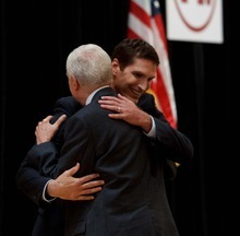 Trent Nelson  |  The Salt Lake Tribune Mitt Romney's son Josh Romney embraces Senator Orrin Hatch after speaking to the Utah delegation at a breakfast honoring Hatch (