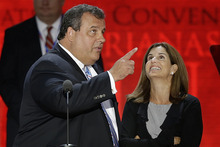 New Jersey Governor Chris Christie and his wife Mary Pat looks over the podium during a sound check at the Republican National Convention in Tampa, Fla., on Tuesday, Aug. 28, 2012. (AP Photo/J. Scott Applewhite)