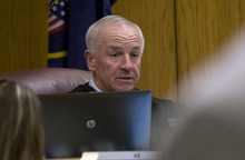 Scott G. Winterton  |  Pool photo Judge Samuel D. McVey speaks to Martin Joseph MacNeill and his Attorney Randall Spencer during his initial appearance Monday, Aug. 27, 2012 in Provo Utah.