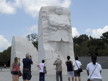 The Martin Luther King, Jr., Memorial in Washington, Tuesday, Aug. 28, 2012. A year after the Martin Luther King Jr. Memorial opened to visitors on the National Mall, the group behind the monument is still working with the National Park Service to change an inscription quoting the civil rights leader and plans to bring new programs to the site.  (AP Photo/Susan Walsh)