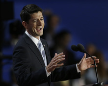 Republican vice presidential nominee, Rep. Paul Ryan speaks to delegates during the Republican National Convention in Tampa, Fla., on Wednesday, Aug. 29, 2012.(AP Photo/Charlie Neibergall)