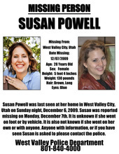 A missing persons flier releasedby Susan Powell's friends and family.