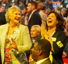 Trent Nelson  |  The Salt Lake Tribune Delegates dance during a musical interlude on the first day of the Republican National Convention in Tampa, Florida, Tuesday, August 28, 2012.